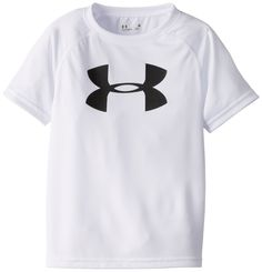 Under Armour Little Boys' Big Logo Short Sleeve Tee Shirt, White, 7. Loose fit. Breathable comfort.