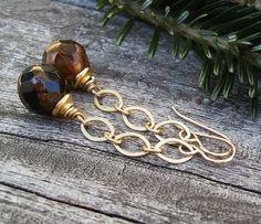 Gold Chain Earrings Chocolate Brown Czech Glass by BonArtsStudio
