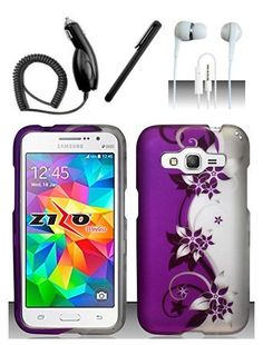 4 Items Combo For Samsung Galaxy Prevail LTE / Galaxy Core Prime G360 (Boost) Purple Silver Vines 2D Design Hard Case Snap On Protector Cover + Car Charger + Free Stylus Pen + Free 3.5mm Stereo Earphone Headsets, http://www.amazon.com/dp/9861753311/ref=cm_sw_r_pi_awdm_fOxpwb1EM3MFW