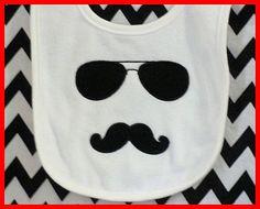 Mustache Aviator Sunglasses White Baby Boy Bib by girlslovebows, $7.99