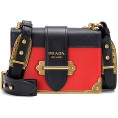 Prada Cahier Embellished Leather Shoulder Bag (22,745 HKD) ❤ liked on Polyvore featuring bags, handbags, shoulder bags, red, red leather purse, leather purses, genuine leather shoulder bag, real leather handbags and red handbags