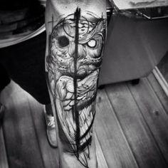 Yin Yang Owl Tattoo by Fredão Oliveira