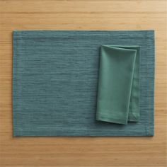 Grasscloth Placemat Seagreen and Cotton Seagreen Napkin  | Crate