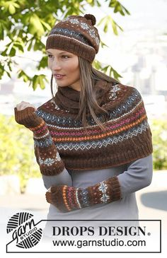 """Autumn Aurora / DROPS - Set consist of: Knitted DROPS poncho, hat and wrist warmers with fair-isle pattern in """"Alpaca"""". Size: S - XXXL. Baby Knitting Patterns, Free Knitting, Crochet Patterns, Finger Knitting, Scarf Patterns, Knitting Tutorials, Knitting Ideas, Crochet Ideas, Motif Fair Isle"""