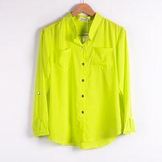d33cb305420 Женская шифон блузка 2015 весной новое поступление сплошной цвет с длинным  рукавом для женщин мода элегантный шифон рубашки женщины ST01 купить на ...