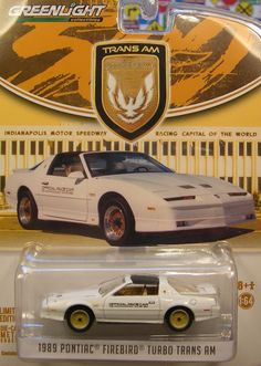 GREENLIGHT 1:64 SCALE WHITE 1989 TURBO TRANS AM 1989 INDIANAPOLIS 500 PACE CAR #GreenlightCollectibles #Pontiac
