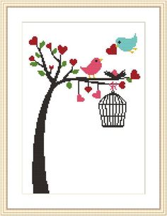 Counted cross stitch pattern by MagicCrossStitch Cross Stitch Tree, Cross Stitch Animals, Counted Cross Stitch Patterns, Cross Stitch Charts, Cross Stitch Designs, Cross Stitch Embroidery, Embroidery Patterns, Bordado Tipo Chicken Scratch, Diy Recycling
