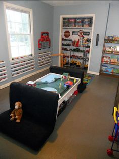 Neat ideas for shelves to help organize small toys (not sure how long they would stay on the shelves!)