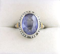 Antique 14K WG Amethyst Seed Pearl Sapphire Ring Victorian Cocktail YG Gemstone