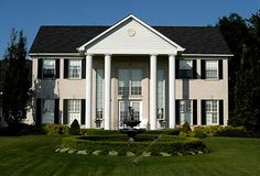 Colonial Revival in Brantford Colonial Revival Architecture, Colonial Exterior, House Proud, Shed, Design Inspiration, Outdoor Structures, Mansions, House Styles, Home Decor