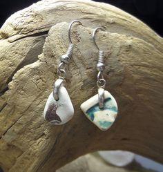 Asymmetrical English sea pottery earrings by GoofyMoose on Etsy $24 #Etsy  #seapottery #earrings #handmade