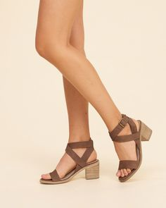 Wear it with a denim button-front skirt, this leather, strappy block heel sandal features adjustable buckle closure.<br><br>Heel Height (Inches): 2.84