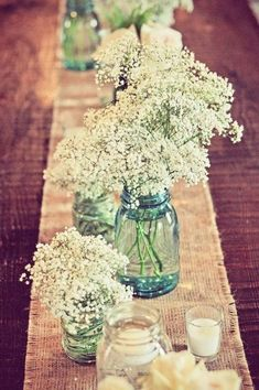 Summer Wedding Glitter Mason Jar, Burlap Table Runner and baby's breath table decor | DIY Wedding Ideas on mason jars, glasses table decor, 2014 valentines day wedding decor #WeddingIdeasTable