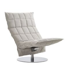 Woodnotes Swivel k chair wide and ottoman, col. stone-white upholstery made with Sand paper yarn cotton fabric.