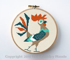 Retro Rooster Cross Stitch Pattern Instant Download PDF Digital Needlepoint