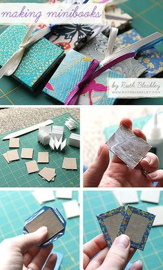 Pretty neat little mini book tutorial by Ruth Bleakley. These would make neat as gift tags on a special gift.