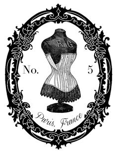 Vintage dress form graphic from The Graphic's Fairy.  This would be sweet on the front of a petite dresser!  Just print in reverse on a laser printer and use Artisan Enhancements Transfer Gel to transfer to your painted surface!