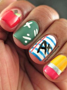 School nails...a little too flashy for me, but cute!
