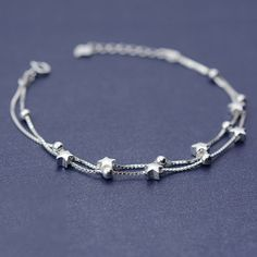 925 Sterling Silver Double Box Chain Matte Stars Bracelets For Women Fashion Lady Hypoallergenic Sterling-silver-jewelry