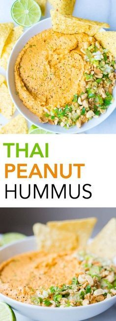 Thai Peanut Hummus: A simple homemade hummus recipe that's filled with Thai peanut sauce ingredients. Use maple syrup in place of honey to make this vegan