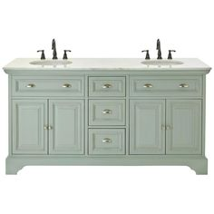 Home Decorators Collection Sadie 67 in. Double Vanity in Antique Light Cyan with Marble Vanity Top in Natural White with White Basin