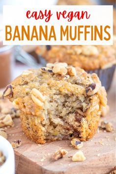 These delicious and fluffy vegan banana muffins have the best moist texture along with chopped walnuts, cinnamon and nutmeg! #veganmuffins #veganmuffinrecipes #veganbananamuffins #veganbanananutmuffins #vegandesserts Healthy Vegan Desserts, Vegan Dessert Recipes, Delicious Vegan Recipes, Raw Food Recipes, Vegan Meals, Vegan Banana Muffins, Vegan Comfort Food, Vegan Baking, Muffin Recipes
