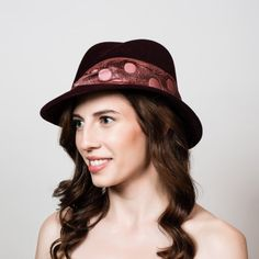 Felt Fedora Hat. Womens Fedora Variation. Creased Crown and 1930s Style  Brim. Burgundy Velour Fur Fe 3d9b3a176863