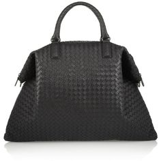 Bottega Veneta Convertible intrecciato leather tote ($3,930) ❤ liked on Polyvore featuring bags, handbags, tote bags, bolsas, bottega veneta, black, black tote bag, woven leather tote, leather tote bags and woven tote