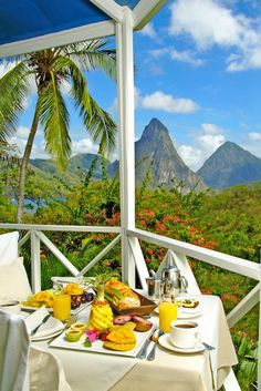 Breakfast with a view in St. Lucia