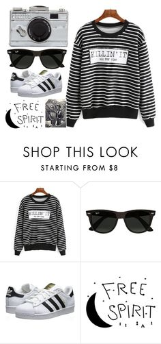 """""""COOL"""" by fangirlwriter ❤ liked on Polyvore featuring Ray-Ban, adidas Originals and Kate Spade"""