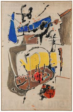 """Claire Falkenstein: Beyond Sculpture"" 10/02/16 - 12/31/16 Crocker Art Museum, Sacramento, CA  [Claire Falkenstein, Barcelona #2, 1949. Gouache on paper on canvas, 39 x 25 in. The Falkenstein Foundation, courtesy of Michael Rosenfeld Gallery, LLC, New York.]"