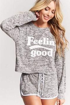 Product Name:Feelin Good Graphic Pajama Top, Category:intimates_loungewear, Cute Pajama Sets, Cute Pajamas, Pajama Top, Ropa Interior Babydoll, Girls Pjs, Brit, Cute Sleepwear, Pajama Outfits, Womens Pyjama Sets