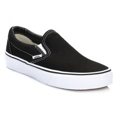Classic Slip On Black Canvas Trainers ($59) ❤ liked on Polyvore featuring shoes, sneakers, slip-on shoes, retro sneakers, black slip on sneakers, slip-on sneakers and black shoes