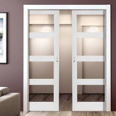 Double Pocket Cayman White sliding door system in three size widths with Clear Glass. Secret Door Bookshelf, Door Shelves, Brown Front Doors, Black Doors, Double Pocket Door, Pocket Doors, Sliding Door Systems, Sliding Doors, Cottage Front Doors