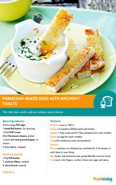 Parmesan-baked eggs and anchovy toast.