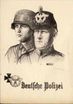 Deutsche Polizei/German Police postcard