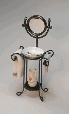 Reutter Miniatures Washstand with mirror - New England Miniatures