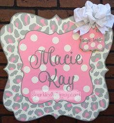 Personalized Cheetah Print Baby Announcement by SparkledWhimsy