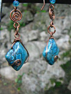Wirewraped copper earrings, blue imperial jasper earrings by TemptationJewelryArt on Etsy