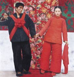 WANG YIDONG B. 1955 A MARRIED WOMAN IN THE MOUNTAINS signed in Chinese and Pinyin and dated 1995-96, framed oil on canvas 190 by 180 cm.; 74 ¾ by 70 ⅞ in.