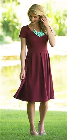 Modest Dresses, Vintage Dresses, Church Dresses and Modest Clothing Modest Bridesmaid Dresses, Modest Outfits, Modest Fashion, Dress Outfits, Maroon Dress Outfit, Burgundy Dress, Purple Dress, Dress Fashion, Fashion Clothes