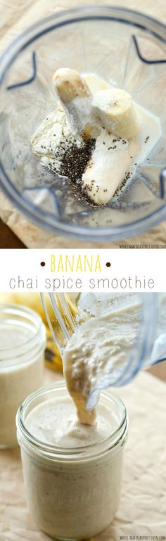 Banana Chai Spice Smoothie Super-creamy and loaded with banana and chai flavors, these luscious smoothies are a perfect post-workout energy boost! Yummy Smoothies, Breakfast Smoothies, Smoothie Drinks, Yummy Drinks, Healthy Drinks, Healthy Snacks, Yummy Food, Green Smoothies, Chai Smoothie Recipes