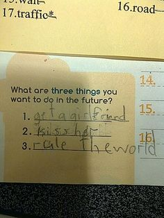 De prioriteiten van een 8-jarige jongetje.