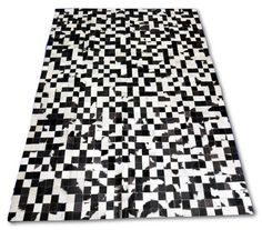 """New Brazilian Cowhide Patchwork Rug E-312 Size: 6' 7"""" X 4' 11"""" feet - Cowhide patchwork rug visible stitching by Cowhidesusa on Etsy"""