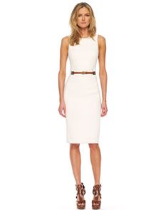 Michael Kors Belted-Waist Sheath Dress - yummy.  i'm digging the clunkier sandals with it as well