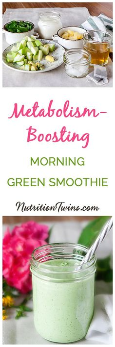 Metabolism Boosting Morning Green Smoothie | Only 207 Calories | Packed with protein, fiber and anti-inflammatories that keep your body in better working order to fuel efficient organs and a well-tuned metabolism | For MORE Nutrition & Fitness Tips & RECIPES please SIGN UP for our FREE NEWSLETTER www.NutritionTwins.com