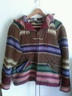 Braetan Wool Blend Womens Small Striped Coat Brown Multi Color Hooded #Braetan #BasicJacket