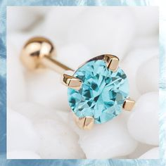 3mm Birthstone Princess Cut 14K White Gold Cartilage Earring