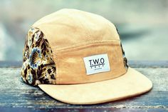 The Worlds Original Face  TWO Face London3rd Edition 5 panel cap, hatCream suede withdamask patterned  Black leather stitched back strap