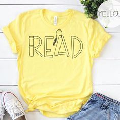 reading shirts for teachers ~ reading shirts - reading shirts for teachers - reading shirts for kids - reading shirts for teachers dr. seuss - reading shirts funny - reading shirts for teachers fun School Shirts, Teacher Shirts, Teacher Clothes, Teacher Wardrobe, Book Shirts, Teaching Outfits, Teacher Style, Teacher Favorite Things, Textiles